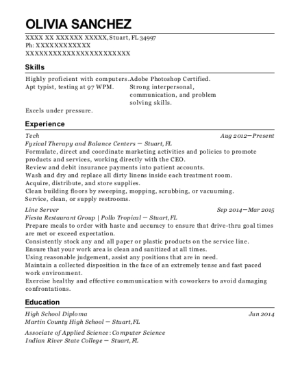 Tech resume example Florida