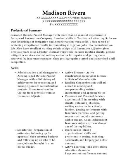 Branch Manager resume example Florida
