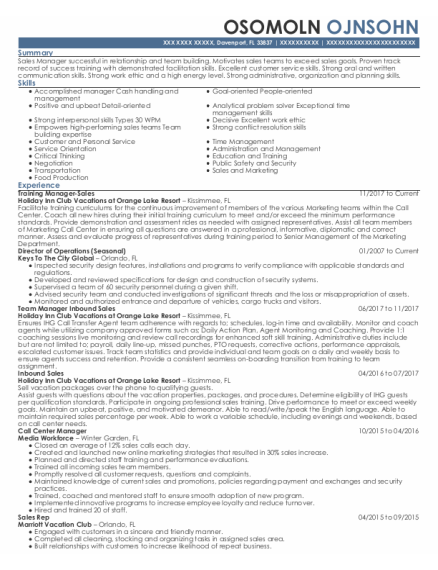 Call Center Manager resume example Florida
