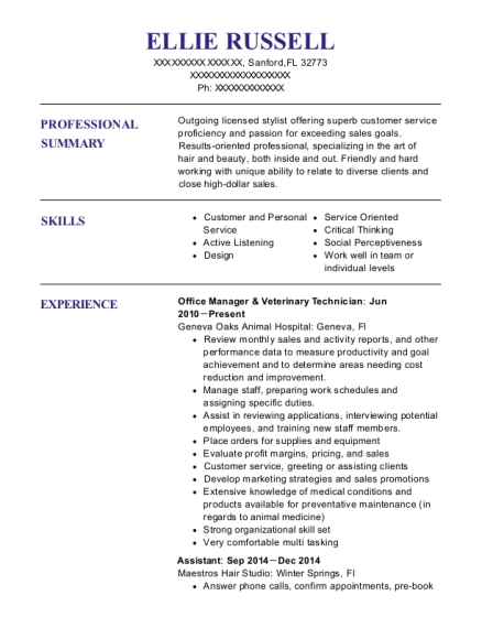 Office Manager & Veterinary Technician resume example Florida