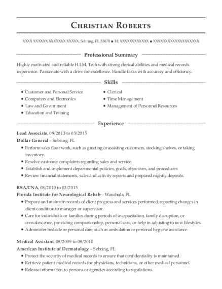 Lead Associate resume example Florida