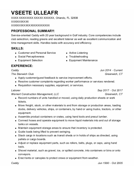 Caddy resume template Florida