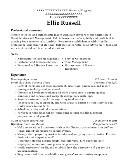 Beverage Supervisor resume example Florida