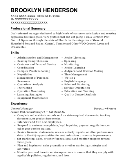 General Manager resume sample Florida