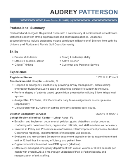 Registered Nurse resume sample Florida