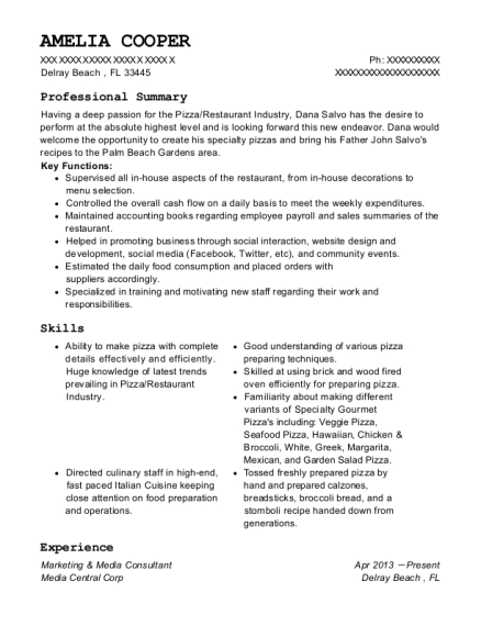 Marketing & Media Consultant resume template Florida