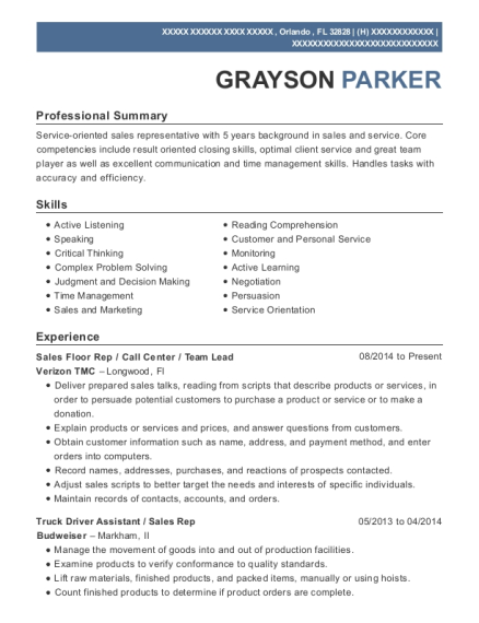 Sales Floor Rep resume format Florida