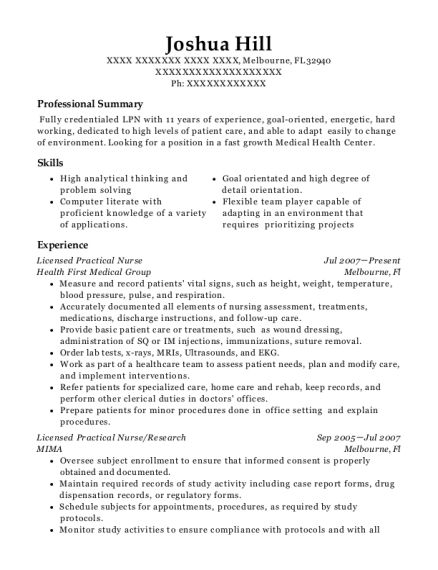 Licensed Practical Nurse resume template Florida