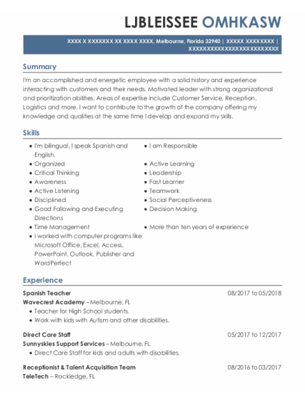 Spanish Teacher resume template FLORIDA