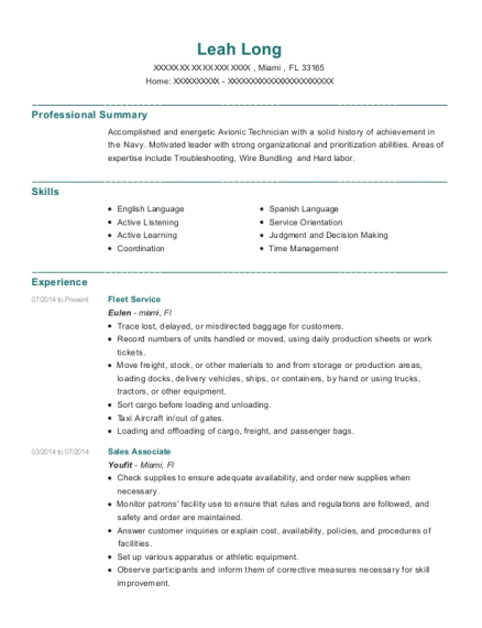 Fleet Service resume example Florida