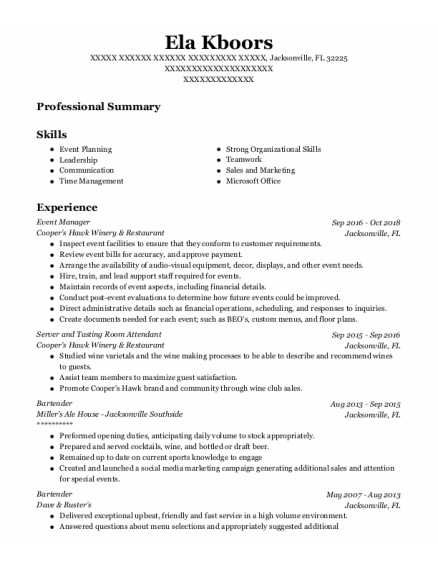 Event Manager resume template Florida