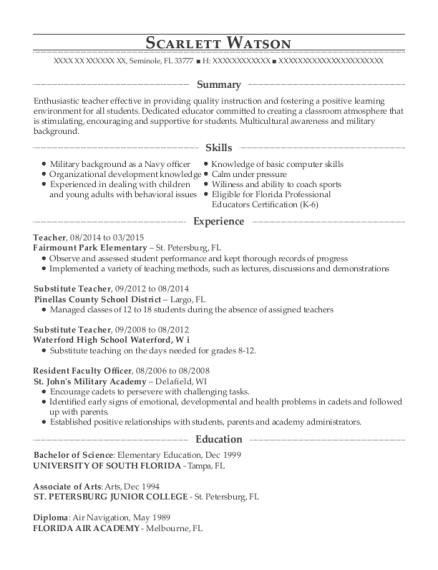 Teacher resume sample Florida