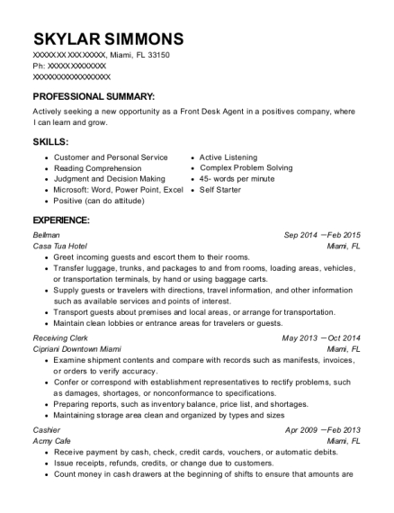 Bellman resume format Florida