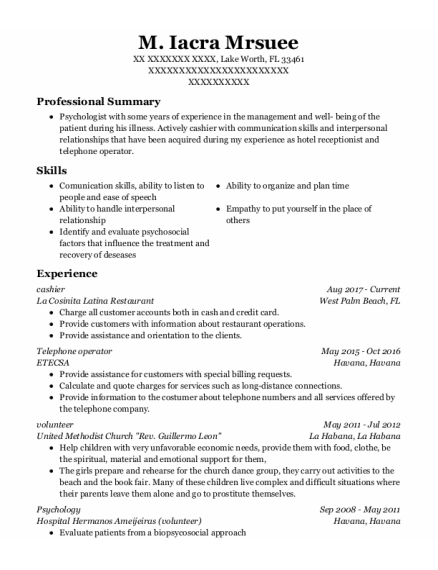 Cashier resume template Florida
