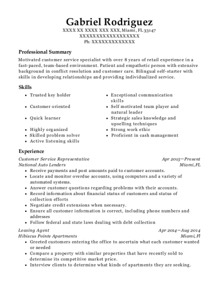 Customer Service Representative resume format Florida