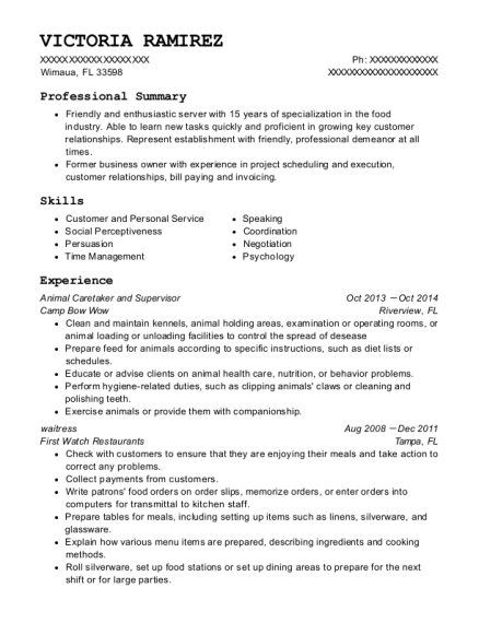 Animal Caretaker and Supervisor resume template Florida