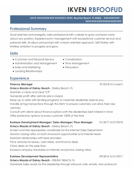 Finance Manager resume template Florida