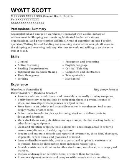 Warehouse Generalist II resume sample Florida