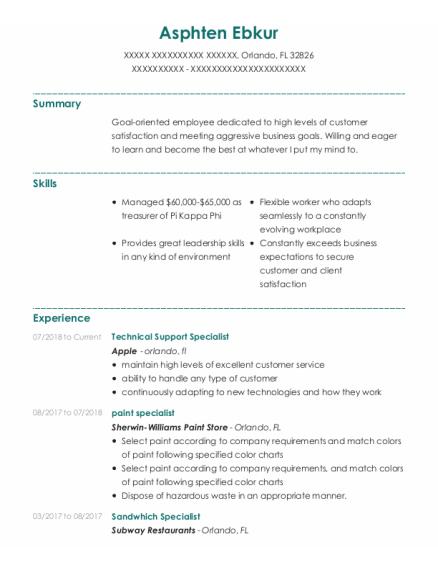 Technical Support Specialist resume template Florida