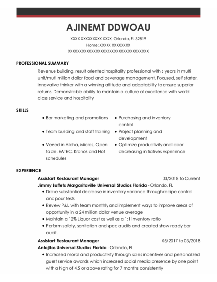 Assistant Restaurant Manager resume template Florida