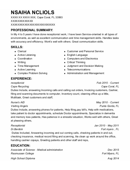 Receptionist resume example Florida