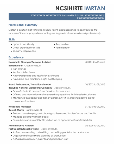 Household Manager resume template Florida