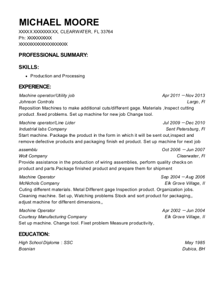 Machine operator resume template Florida