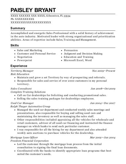 Territory Manager resume template Florida