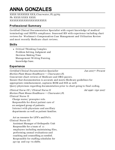 Certified Clinical Documentation Specialist resume sample Florida