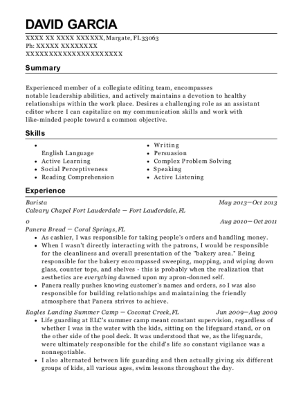 Barista resume example Florida