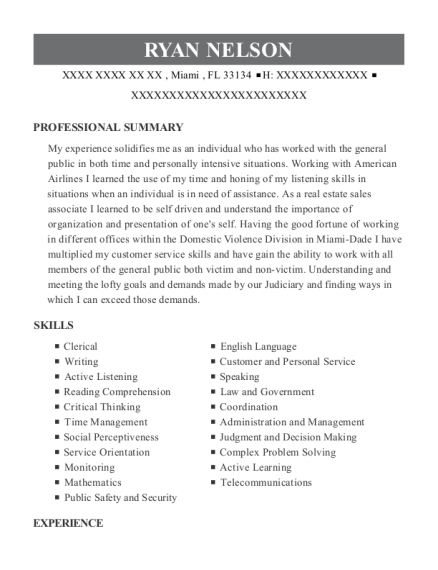 Court Security Specialist resume format Florida