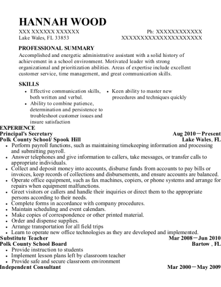 Principals Secretary resume template Florida