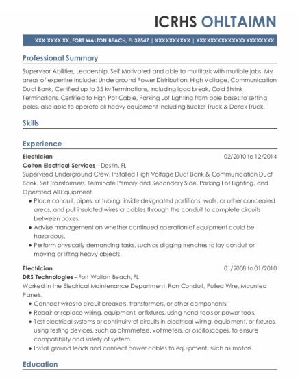 Electrician resume format Florida
