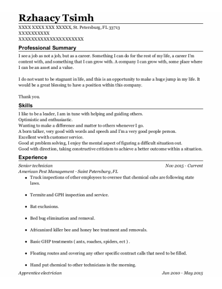Senior Technician resume example Florida
