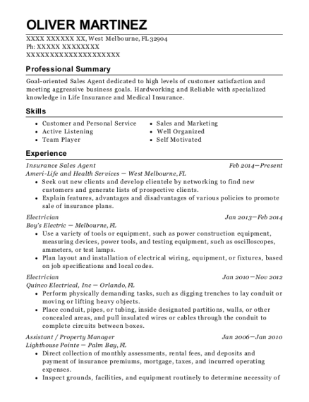 Insurance Sales Agent resume template Florida