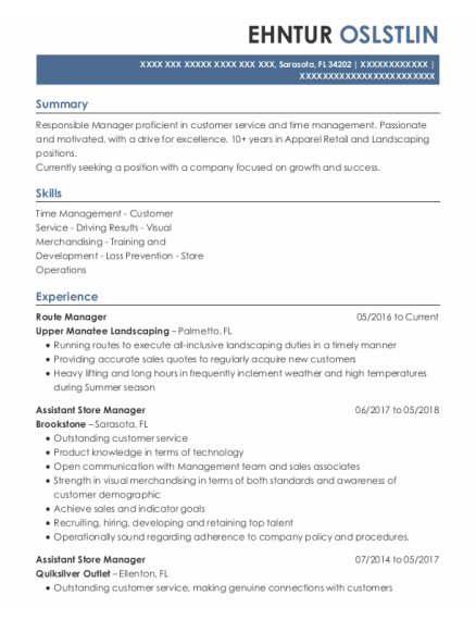 Route Manager resume sample Florida