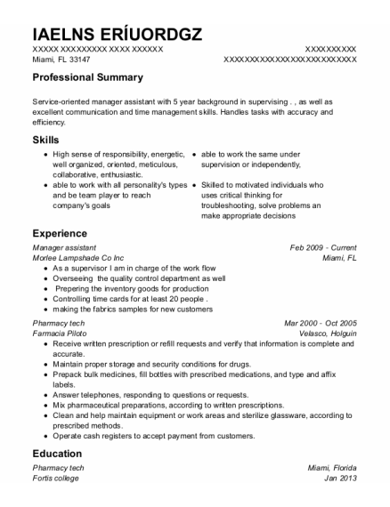 Manager Assistant resume example Florida