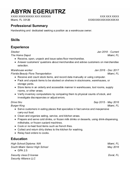Stocker resume template Florida