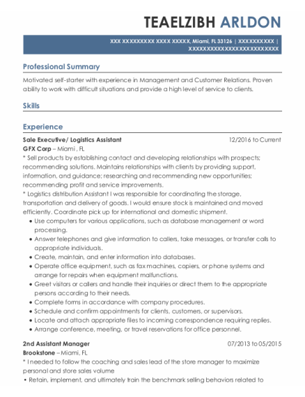 Sale executive resume sample Florida