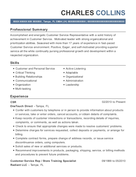 CSR resume example Florida