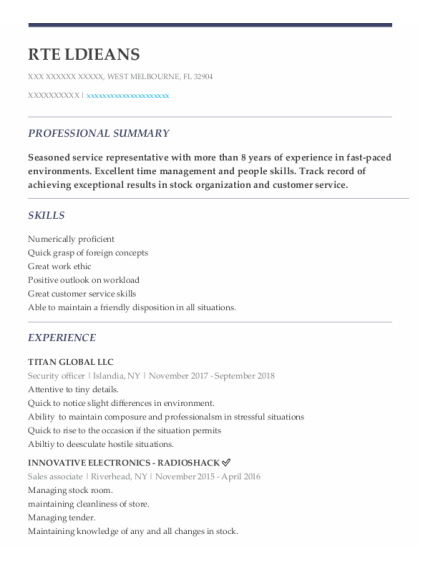 Security Officer resume format Florida