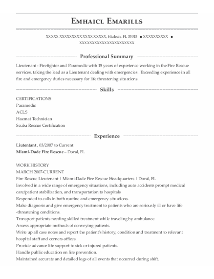 Firefighter resume template Florida