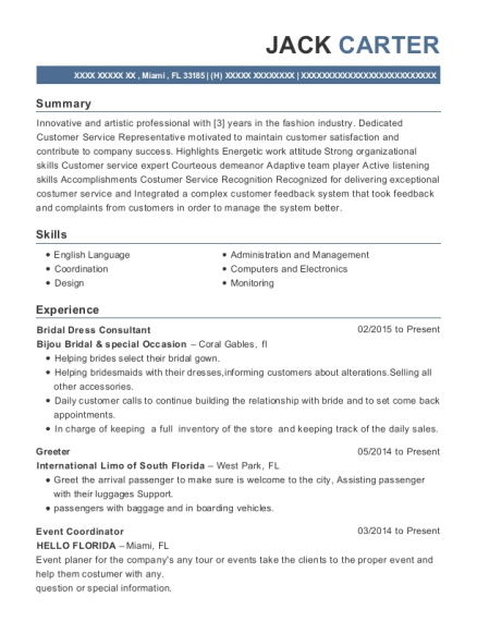 Bridal Dress Consultant resume format Florida
