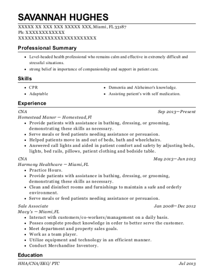 CNA resume sample Florida