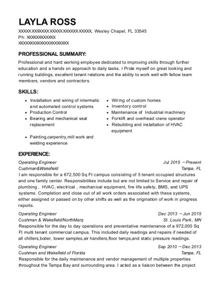 Operating Engineer resume template Florida