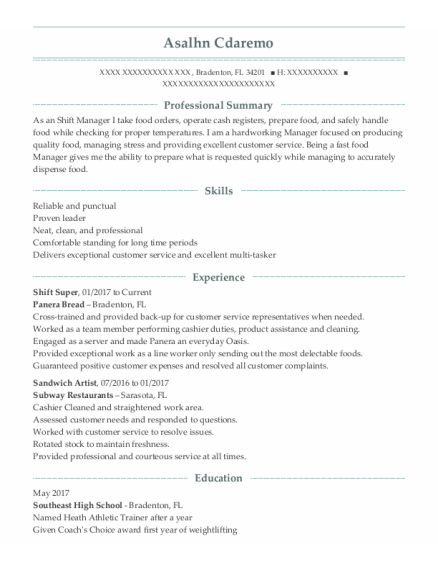 night shift supervisor resume sample Florida