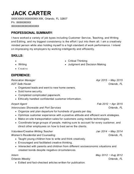 Relocation Manager resume format Florida