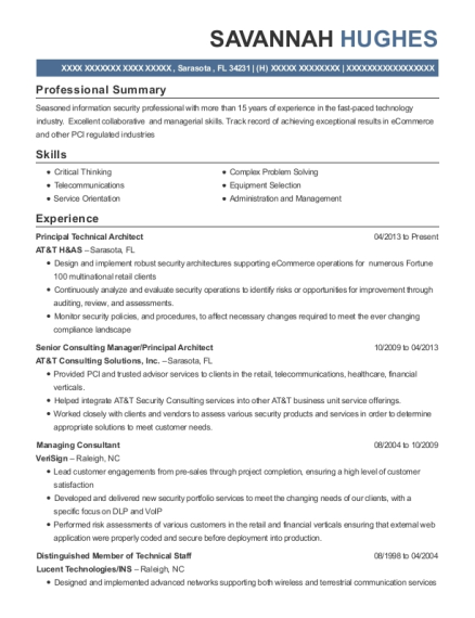 Principal Technical Architect resume sample Florida