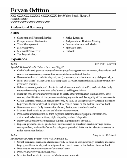 Teller resume sample Florida