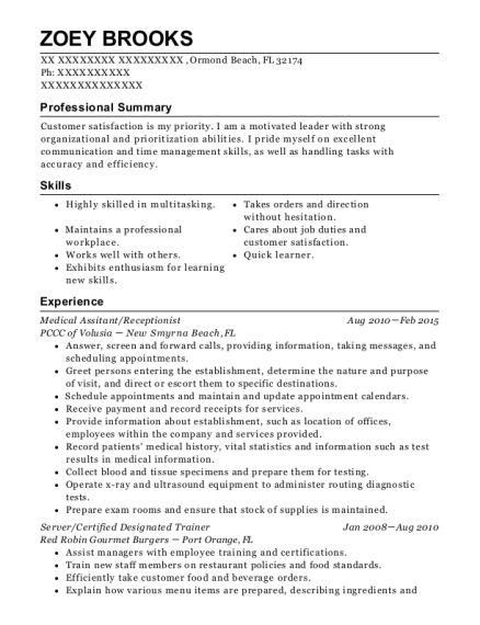 Medical Assitant resume format Florida